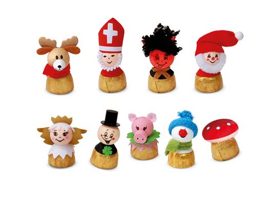 Weihnachten Figuren auf Nuss Krokant Pralinen
